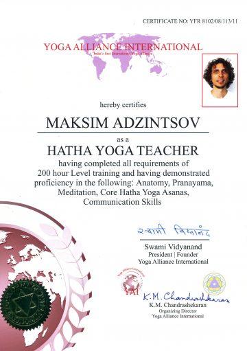sertifikat yoga